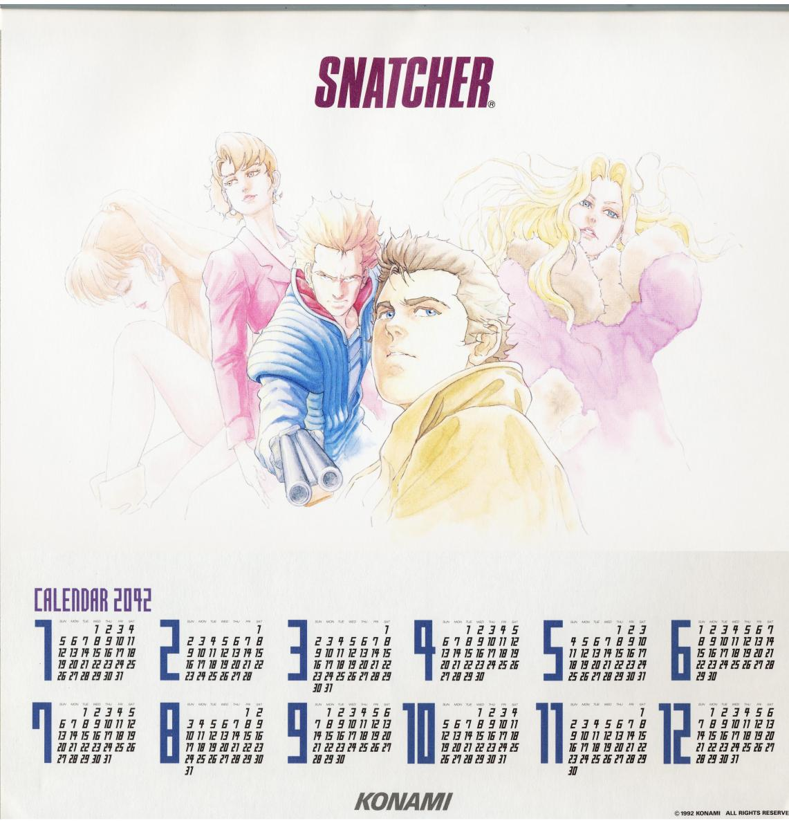 Konami Personnel Department Snatcher Calendar